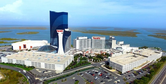 Harrah's Atlantic City with the two large parking garages out in front.
