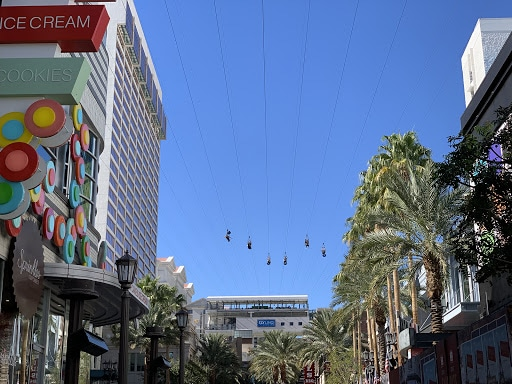 FlyLinq riders zip high above the shops at the Linq Promenade