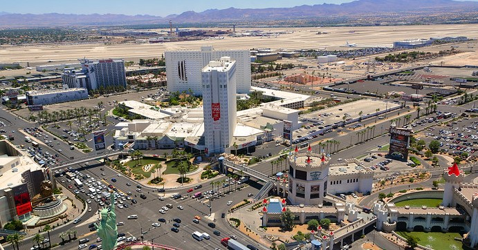 The Tropicana's self-parking garage is in the middle-right