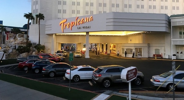 The front valet parking area at the Tropicana Las Vegas