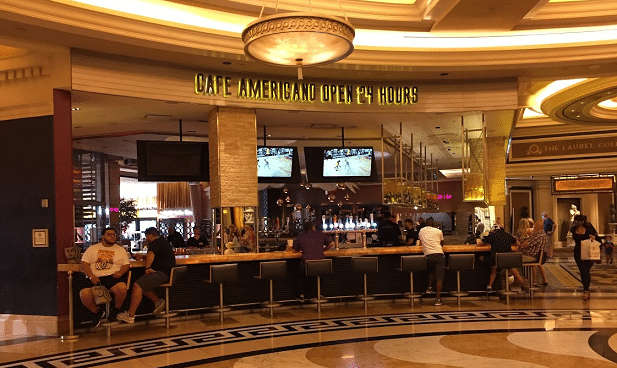 Cafe Americano's bar seating in the lobby of Caesars Palace