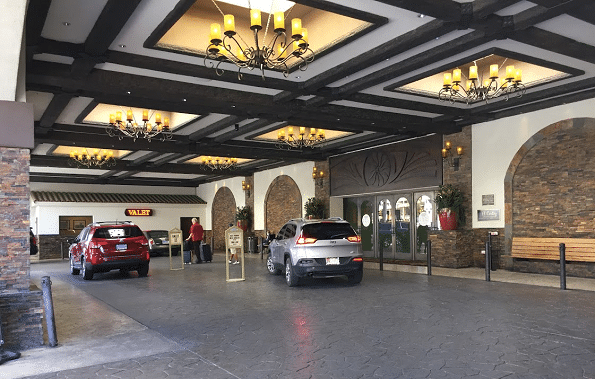 The valet parking area at the El Cortez Hotel & Casino in downtown Las Vegas