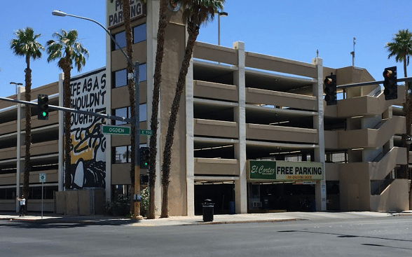 This parking garage is across the street from the El Cortez Hotel & Casino in Las Vegas