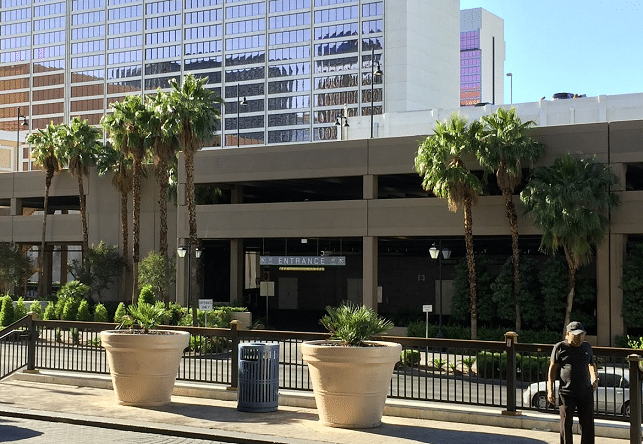 One of two Flamingo Road entrances into the Cromwell Parking Garage
