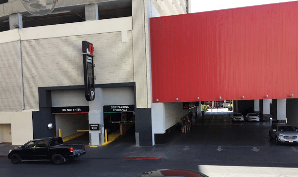 The D Las Vegas valet parking area is to the right. Self-parking garage entrance to the left.