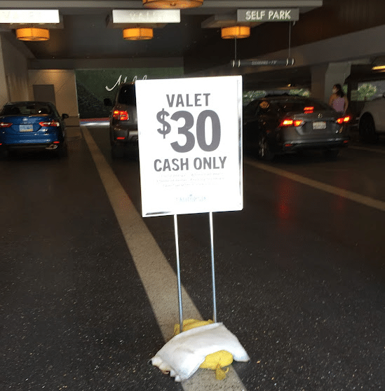 The valet parking area at the California Hotel & Casino in Las Vegas