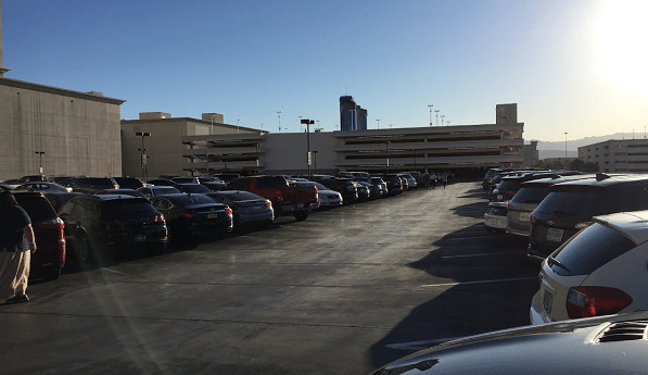 The top floor of the closer Caesars Palace Parking Garage