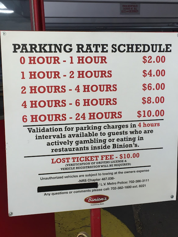 Although Binion's charges for self parking, it's easy to get it validated.