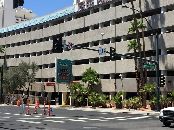 Binion's Large Parking Garage is just North of the Hotel & Casino