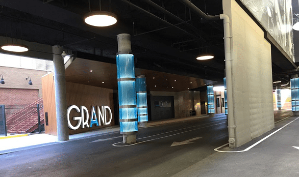 The valet parking area at the Downtown Grand Hotel & Casino in Las Vegas