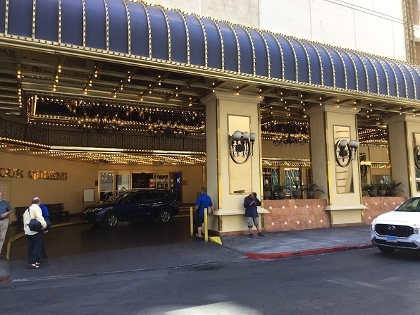 The valet parking area in front of the Four Queens Hotel & Casino