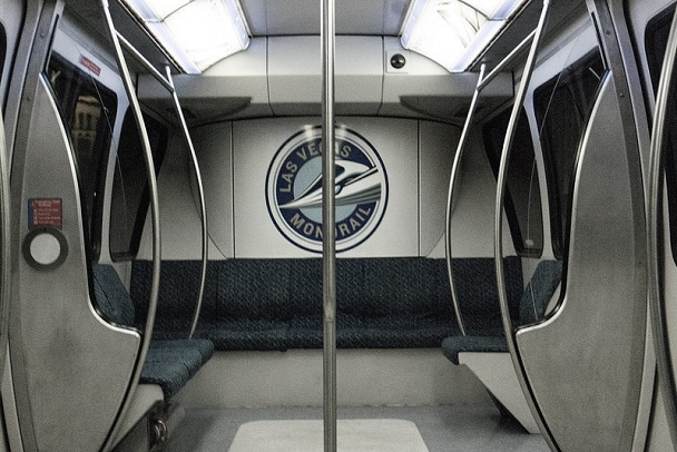 Inside one of the Las Vegas Monorail trains